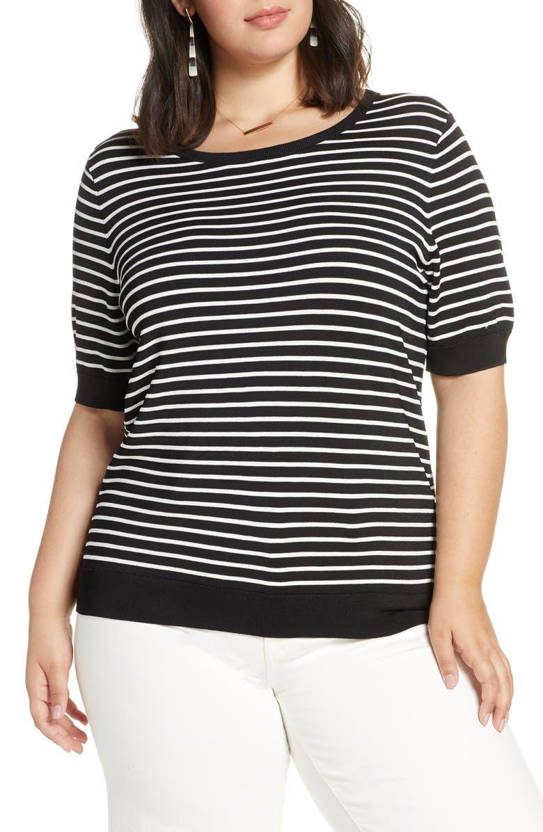 HALOGEN<SUP>®</SUP> Stripe Sweater, Main, color, BLACK- IVORY STRIPE