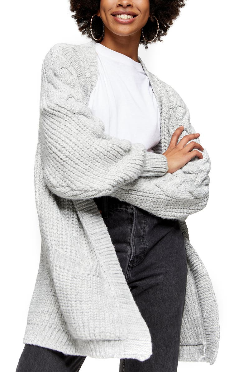 TOPSHOP Cable Sleeve Cardigan, Main, color, GREY