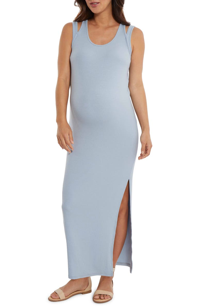 STOWAWAY COLLECTION Double Strap Ribbed Maternity Maxi Dress, Main, color, SKY BLUE