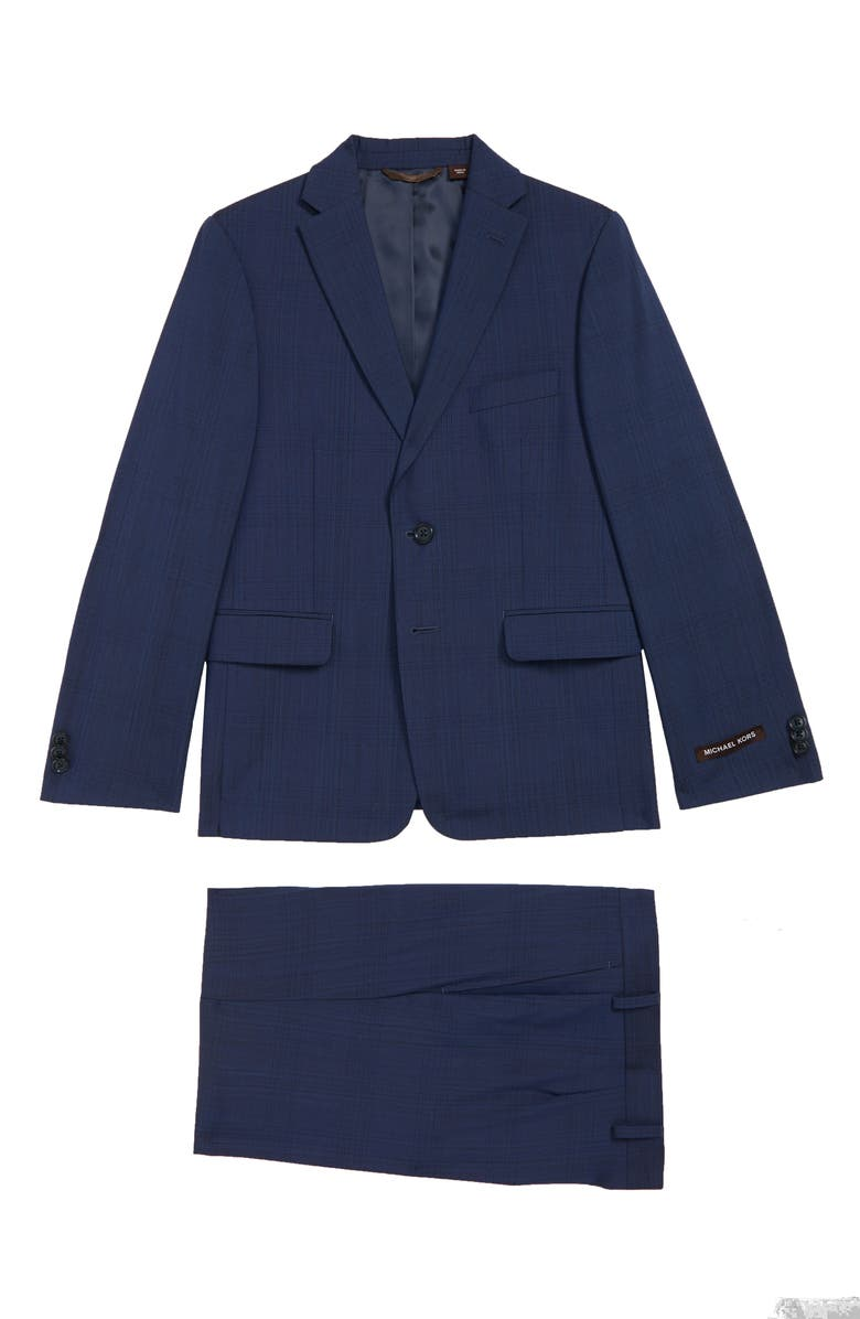 MICHAEL KORS Plaid Suit, Main, color, BLUE