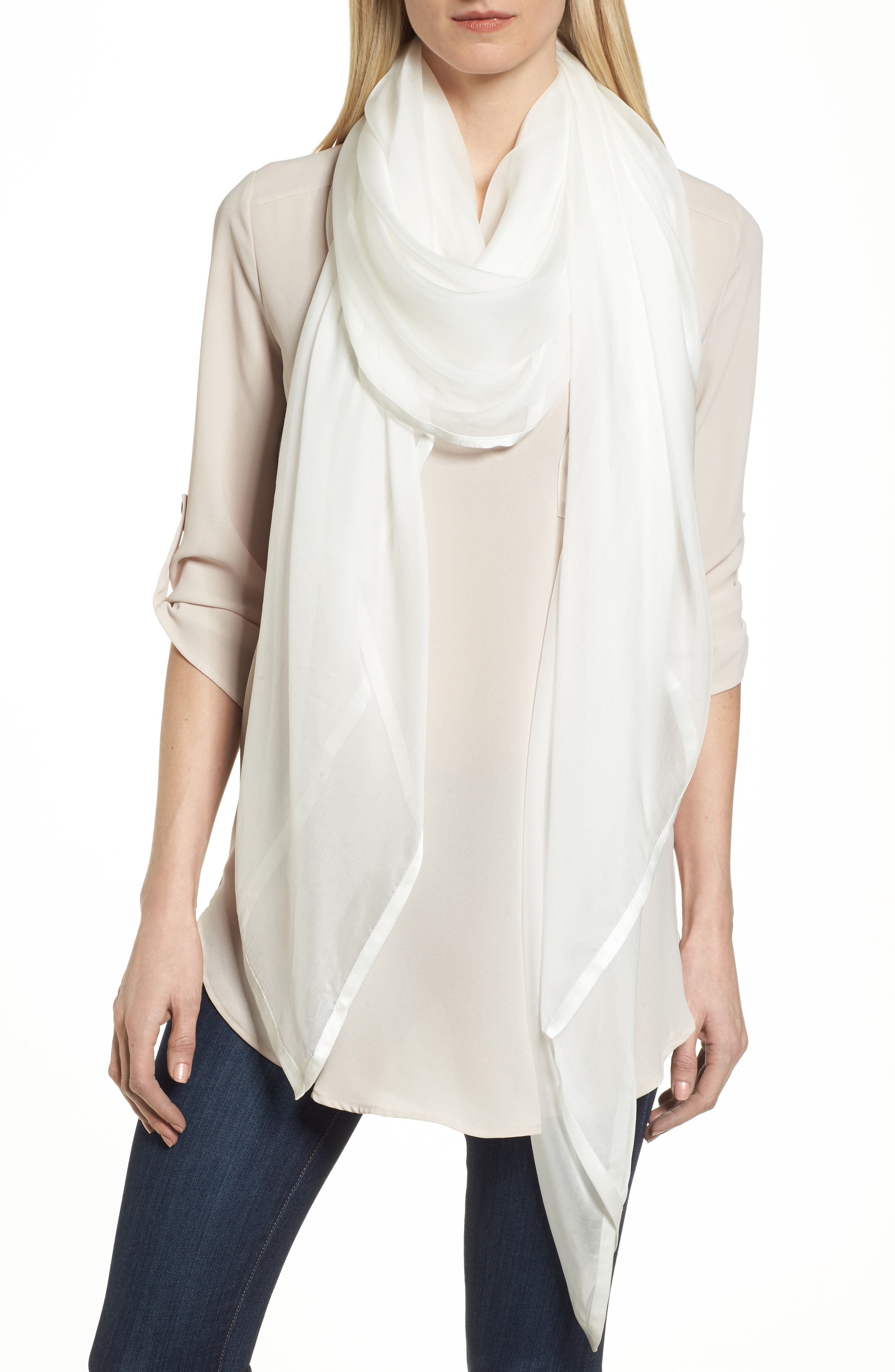 Lustrous satin trim edges a gorgeous scarf in sheer, gauzy silk chiffon sized to double as an elegant wrap for those special nights out. Style Name: Nordstrom Satin Border Silk Chiffon Scarf. Style Number: 5384117. Available in stores.