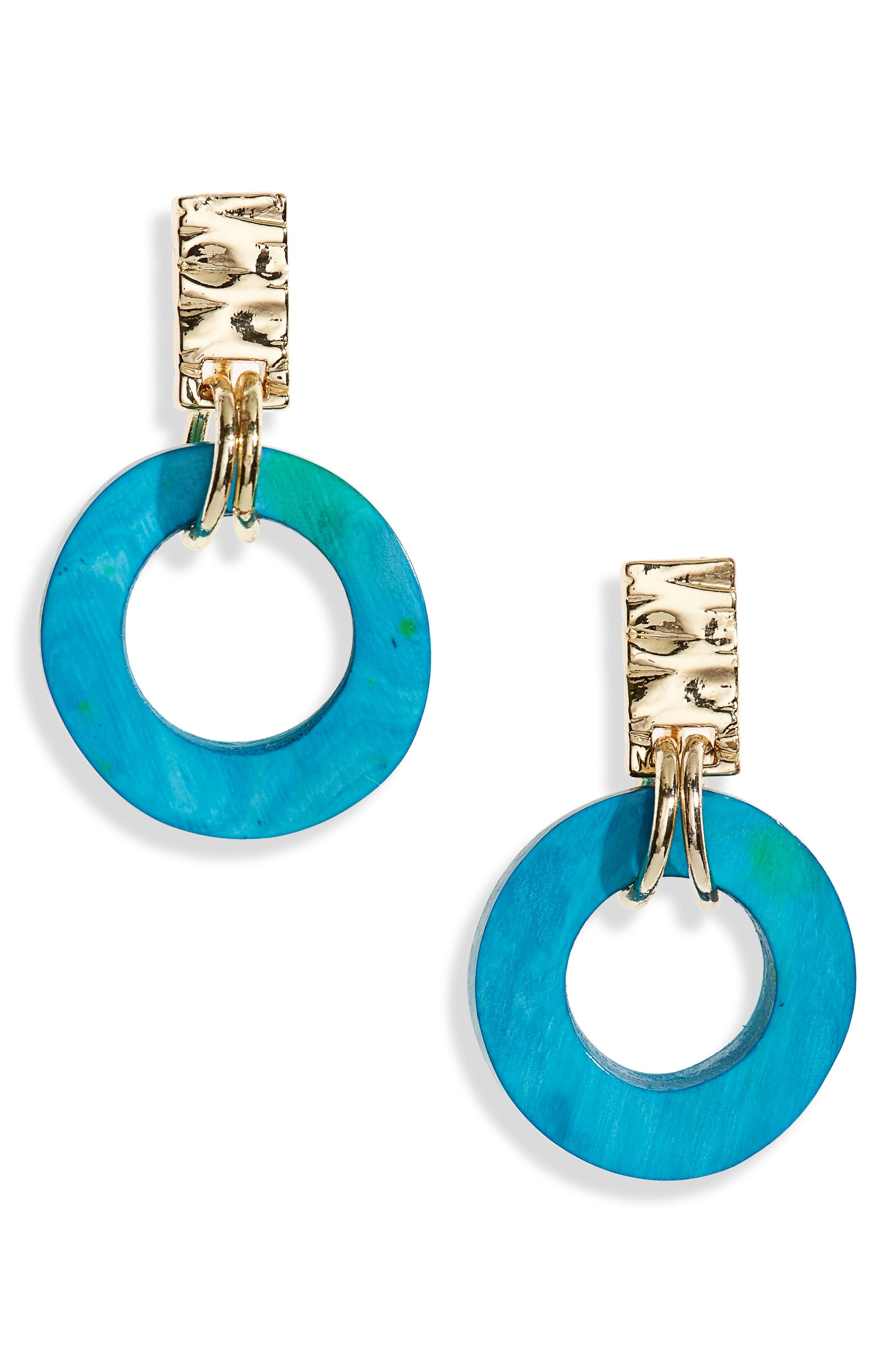 Small Horn Circle Drop Earrings