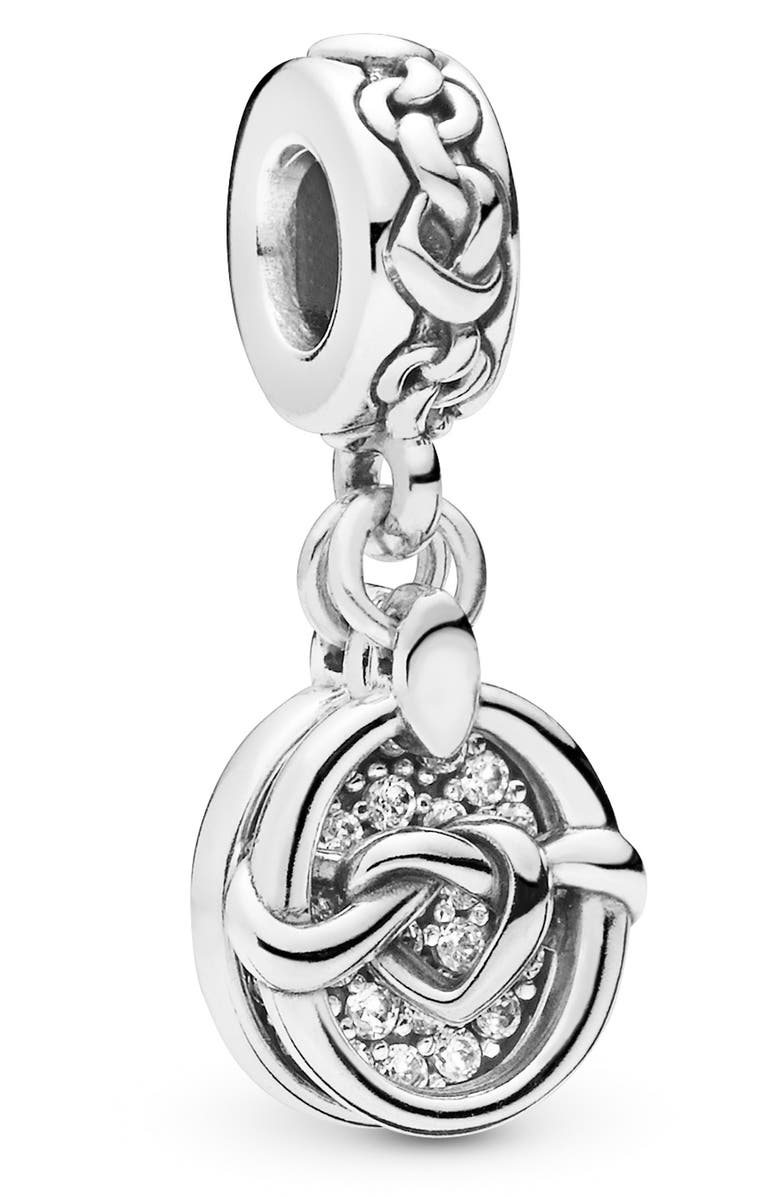 PANDORA Knotted Hearts Dangle Charm, Main, color, SILVER