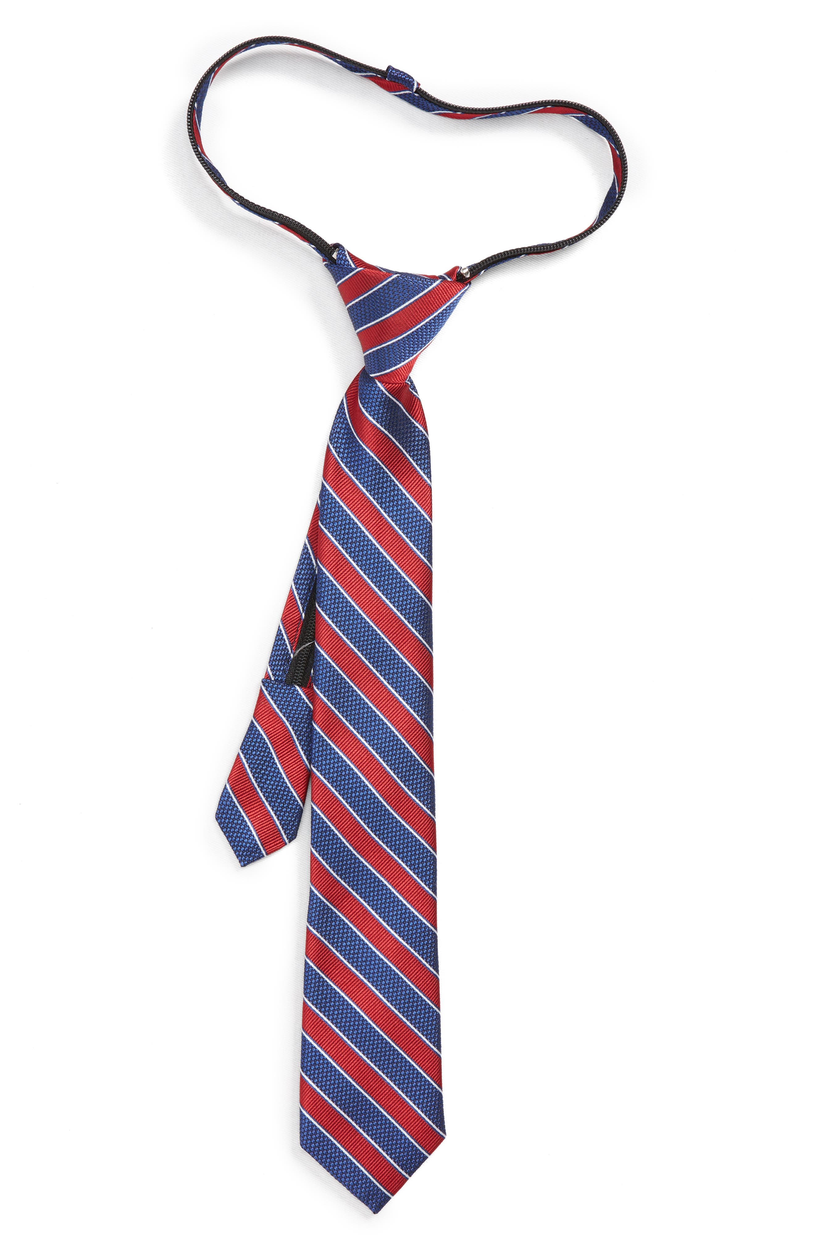 Boys Nordstrom Stripe Silk Zip Tie Size One Size  Red