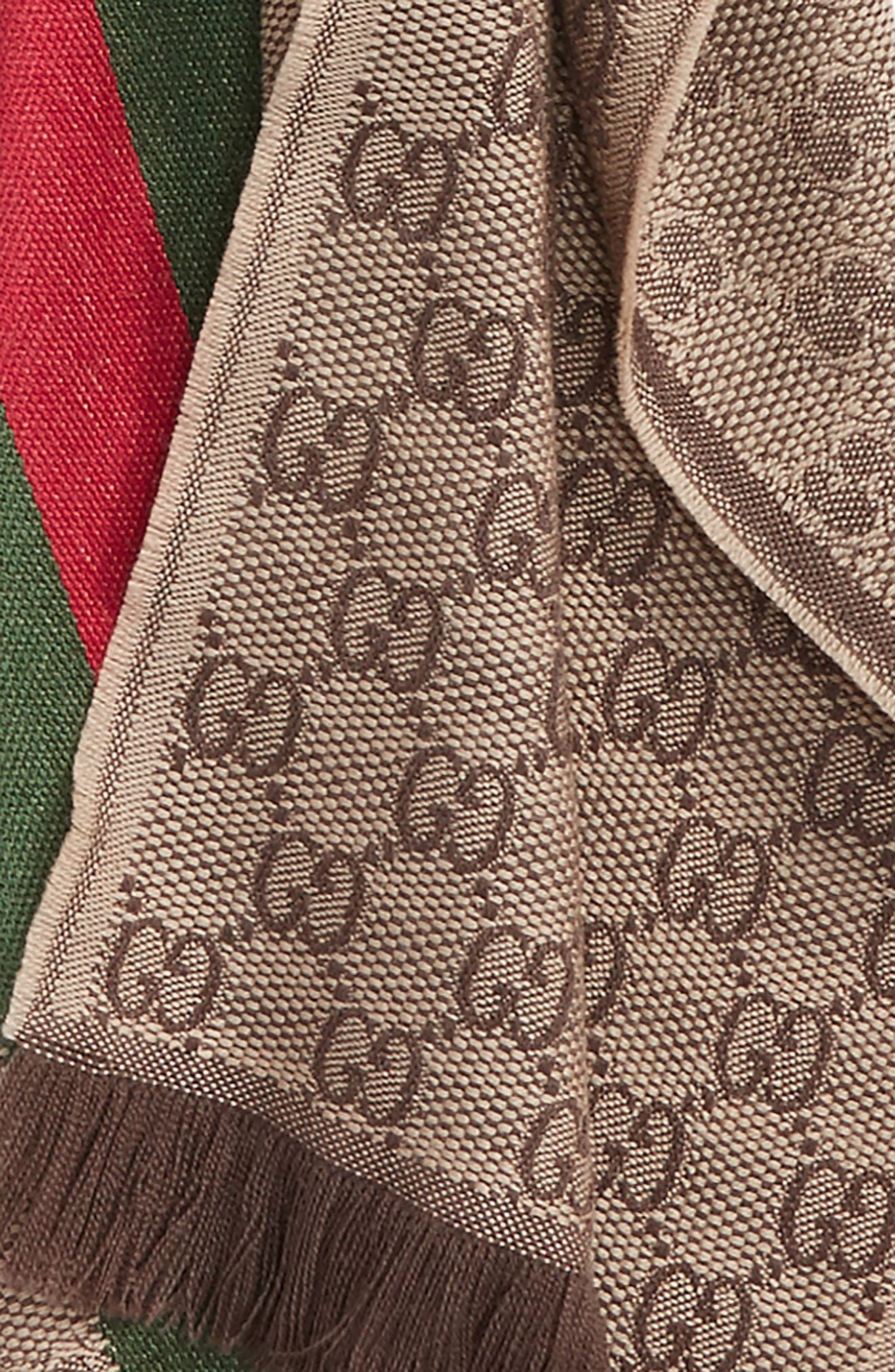 ,                             Verbier Wool & Silk Scarf,                             Alternate thumbnail 4, color,                             LIGHT BROWN/ DARK GREEN