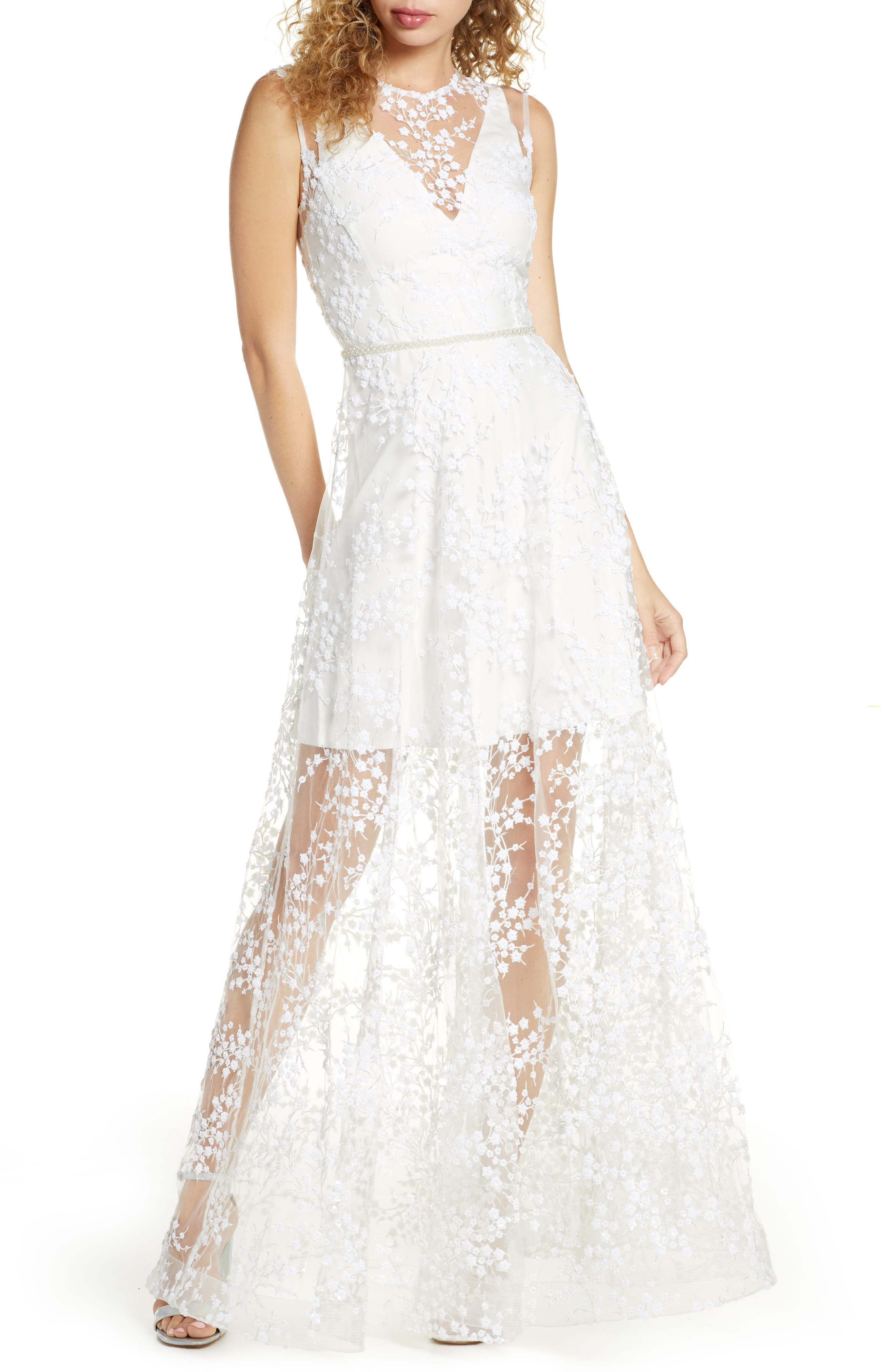 Bronx And Banco Olympia Blanc Sequin Floral Overlay Gown, White