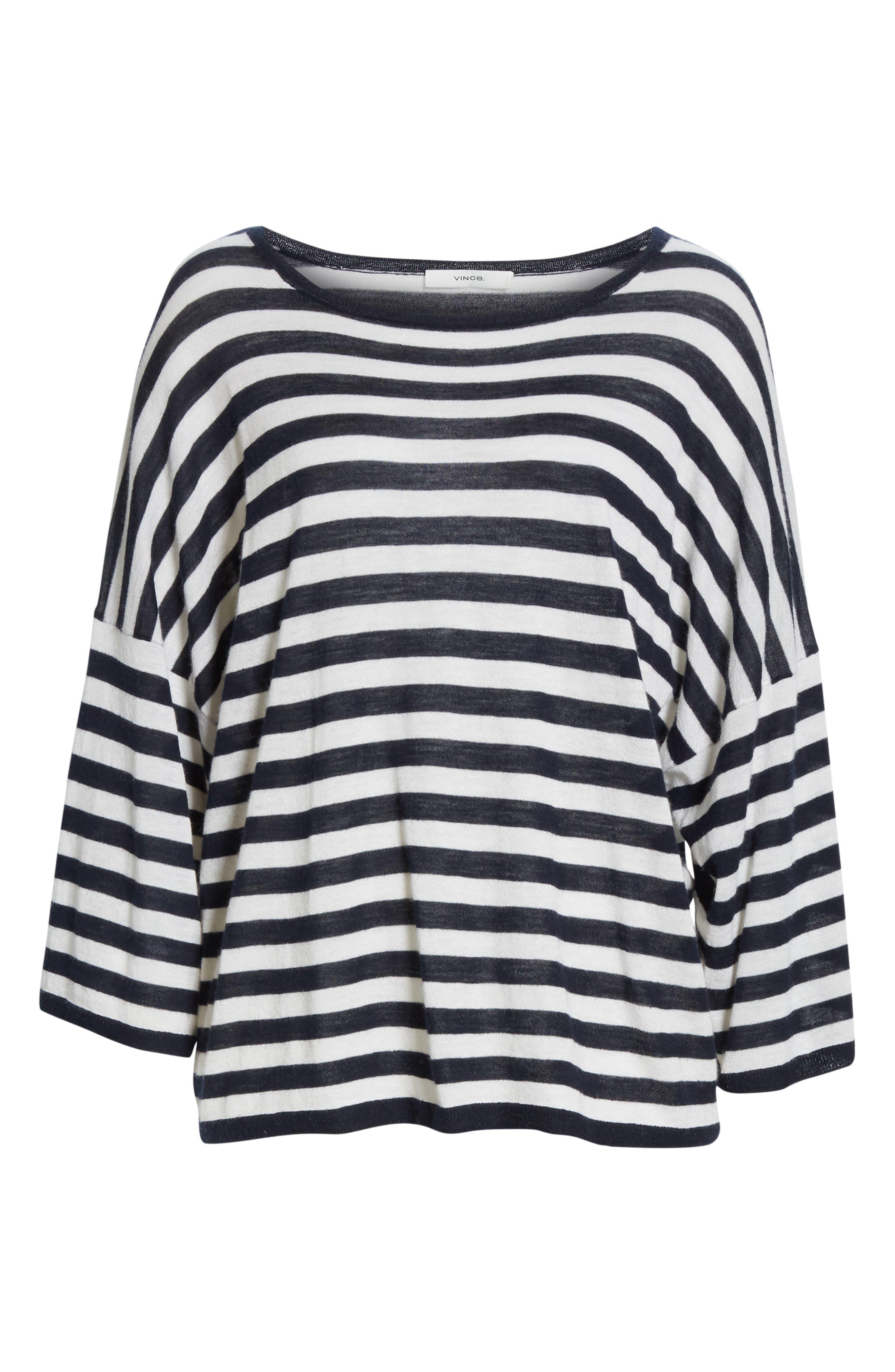 ,                             Stripe Boxy Wool & Cashmere Sweater,                             Alternate thumbnail 6, color,                             COASTAL/ CREAM