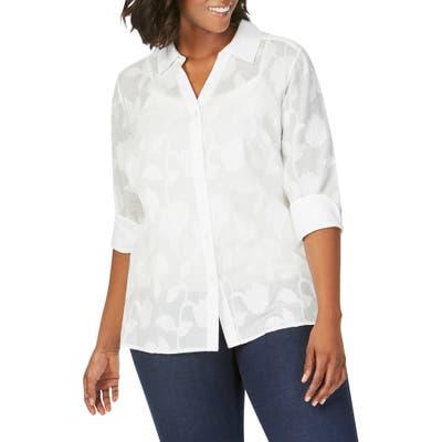 Plus Size Foxcroft Maria Clip Floral Shirt, White