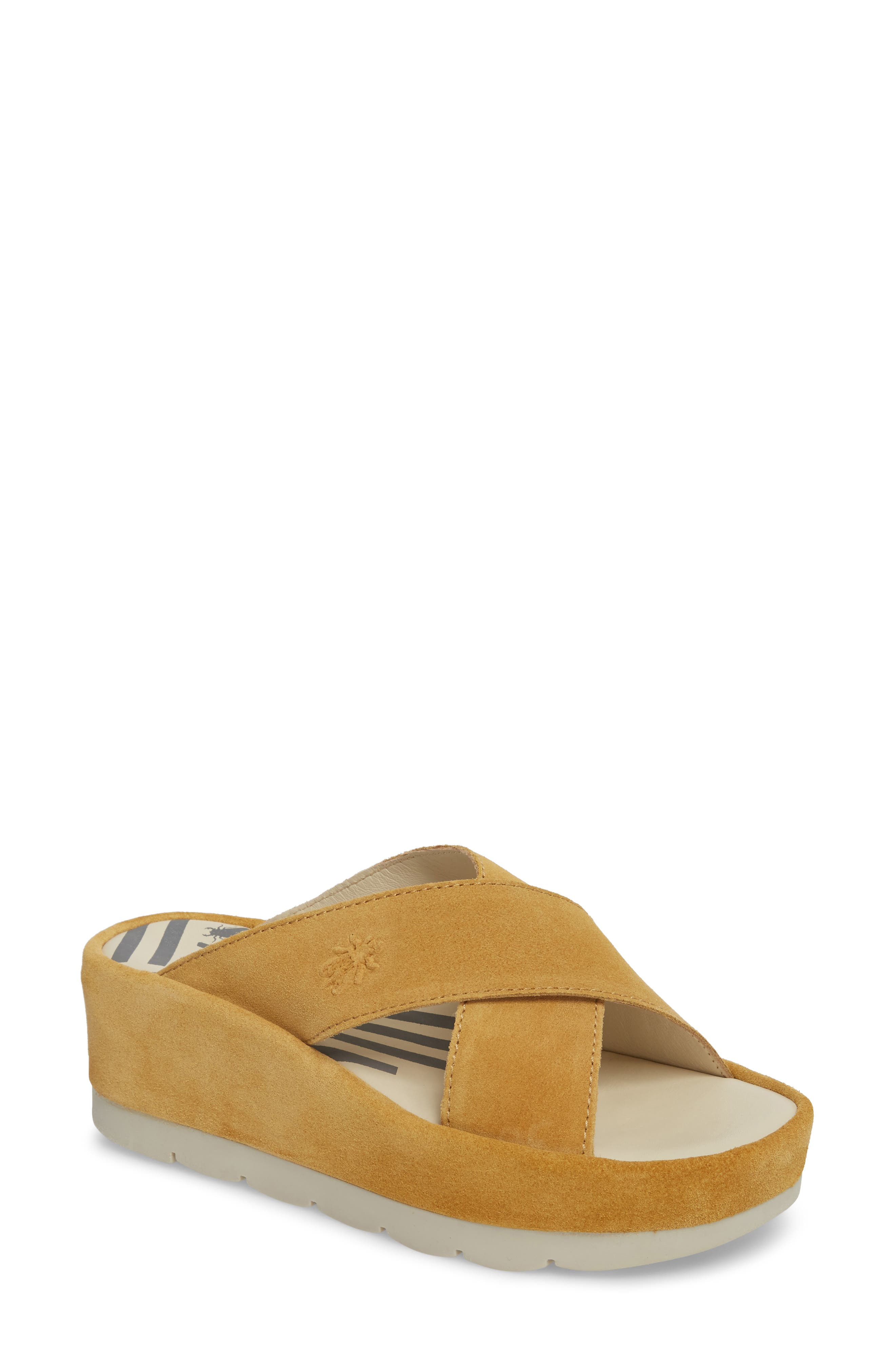 Fly London Begs Platform Slide Sandal, Yellow