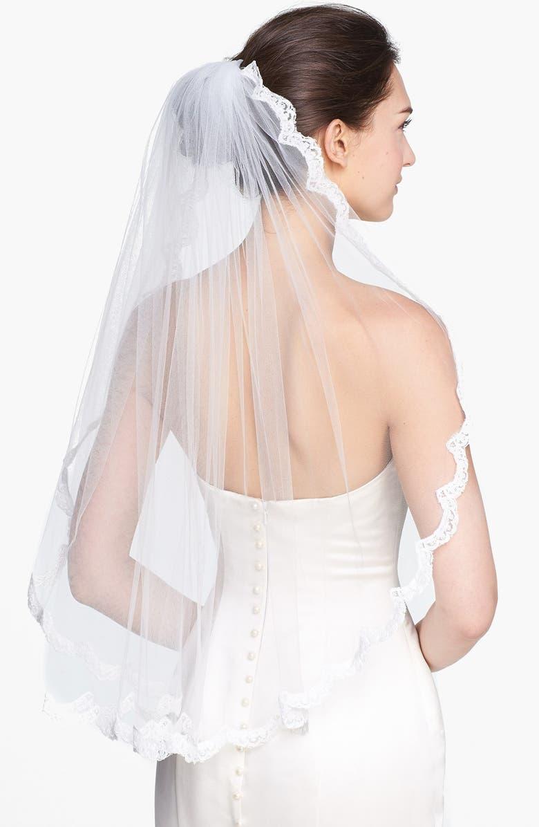 WEDDING BELLES NEW YORK 'Lola' Lace Border Veil, Main, color, DIAMOND WHITE