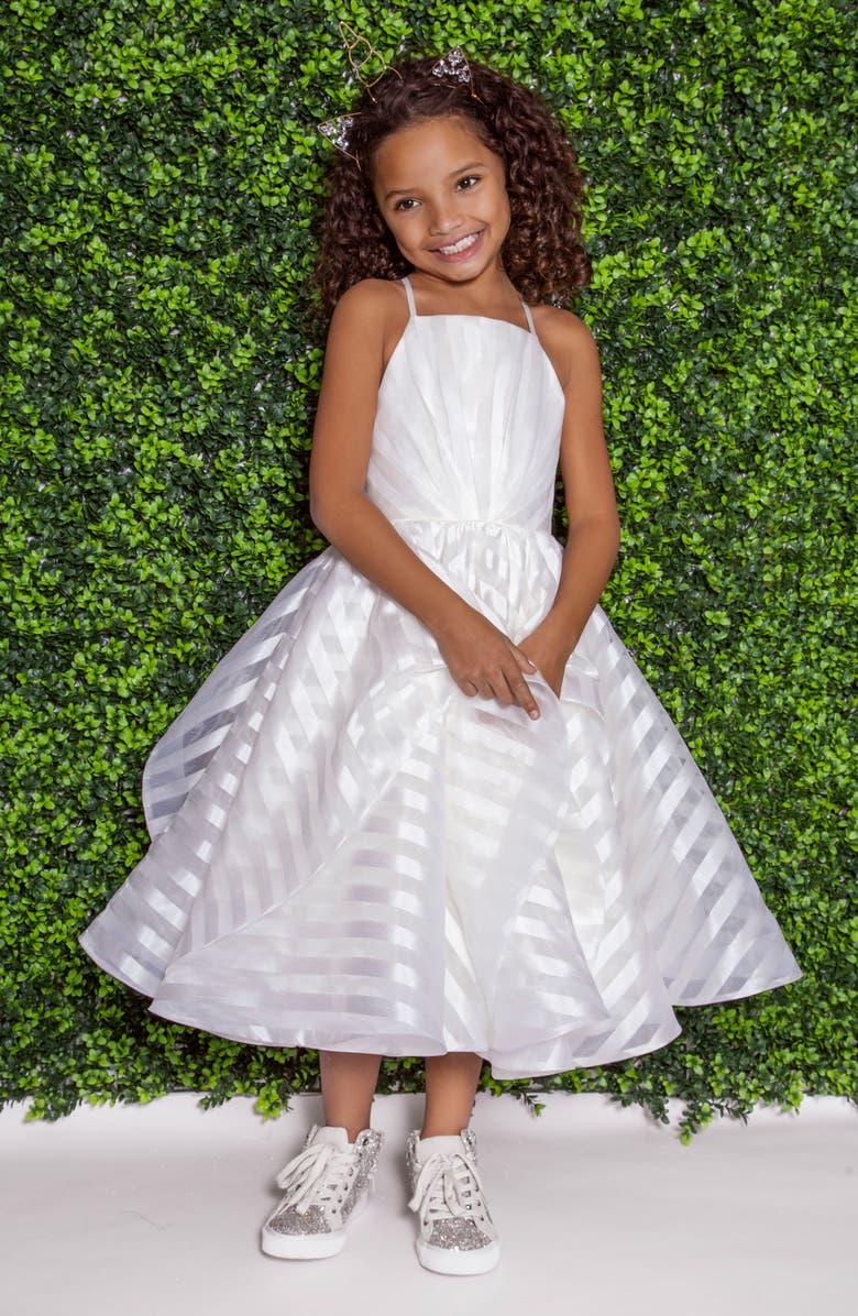 LA PETITE HAYLEY PAIGE Zazie Stripe Organza Flower Girl Dress, Main, color, 900