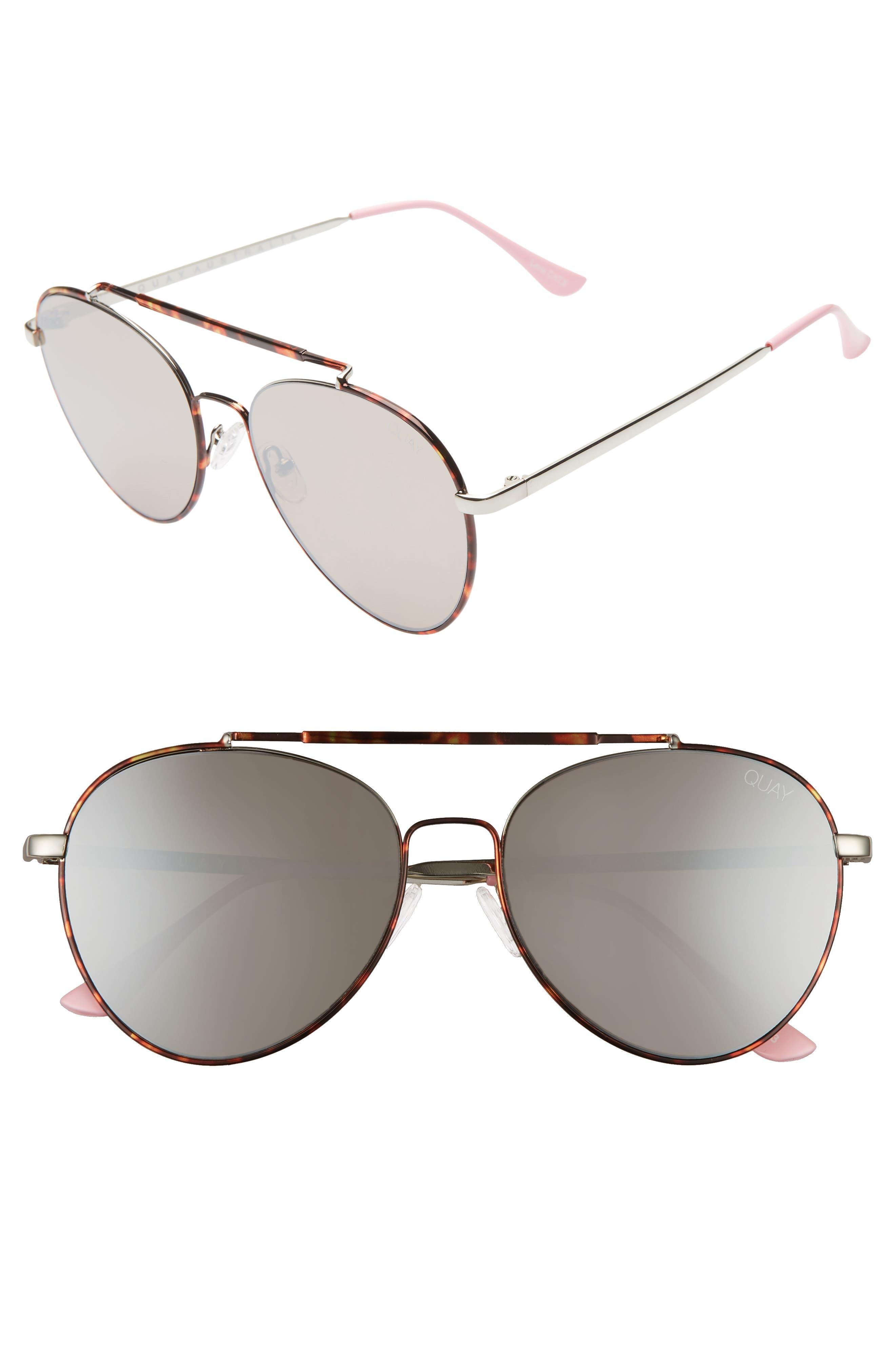 Quay Australia Lickety Split 55Mm Aviator Sunglasses - Tortoise/ Brown Flash