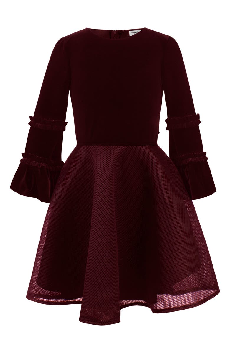 DAVID CHARLES Bell Sleeve Mesh Dress, Main, color, WINE