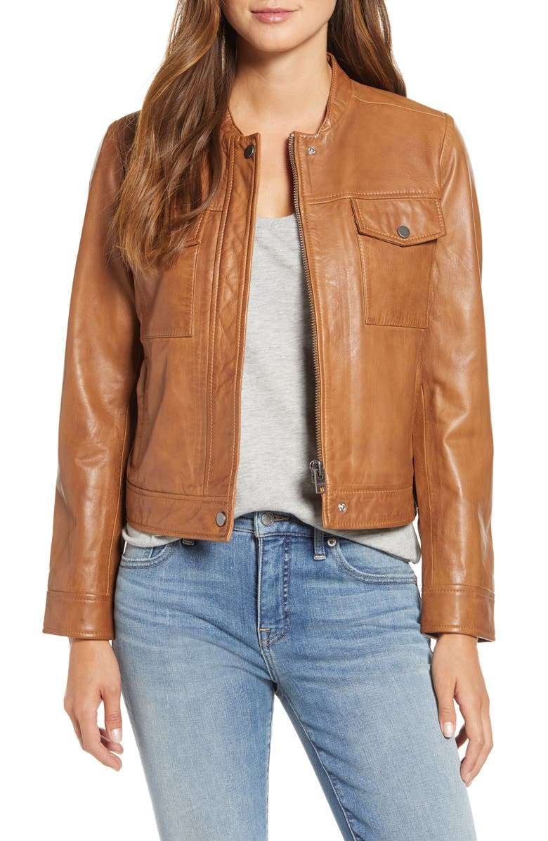 LUCKY BRAND Leather Moto Jacket, Main, color, COGNAC