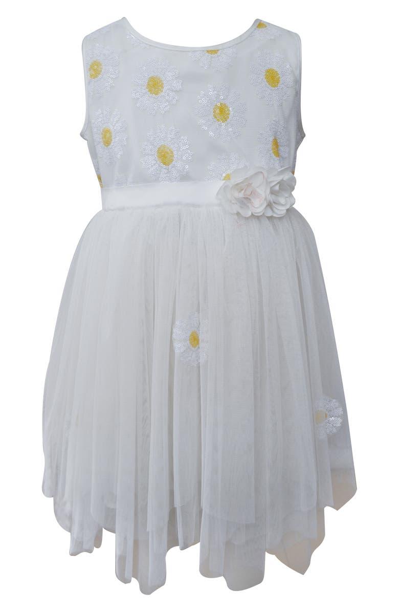 POPATU Sequin Daisy Tulle Dress, Main, color, 100
