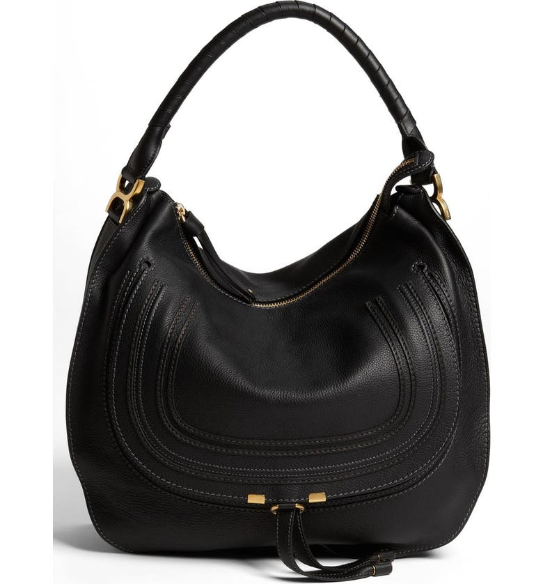 CHLOÉ 'Large Marcie' Leather Hobo, Main, color, 001