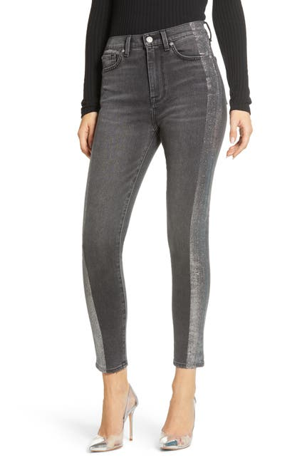 Image of 7 For All Mankind High Waist Silver Stripe Skinny Jeans