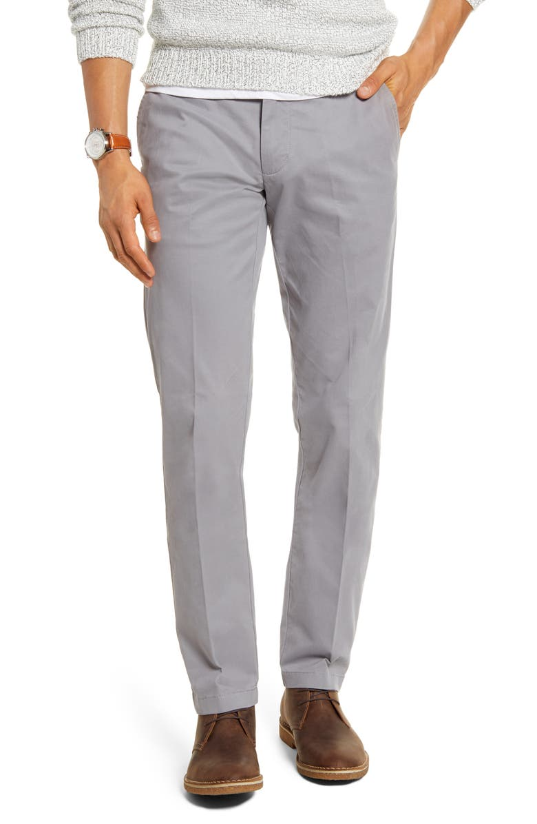 1901 Ballard Slim Fit Peached Twill Chino Pants, Main, color, GREY FILIGREE