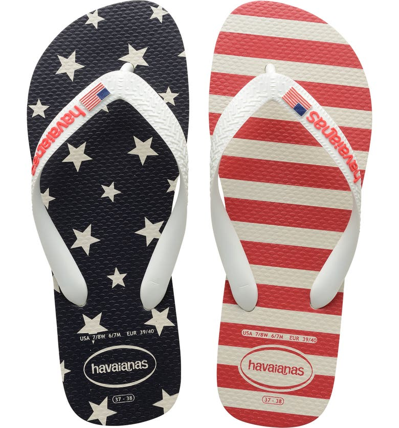 HAVAIANAS Havianas Top USA Stars and Stripes Flip Flop, Main, color, WHITE
