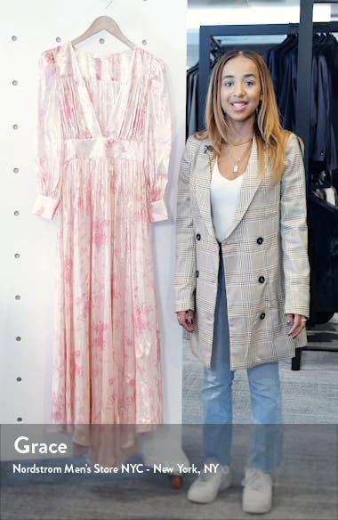 Cyrena Metallic Shine Lon Sleeve Maxi Dress, sales video thumbnail