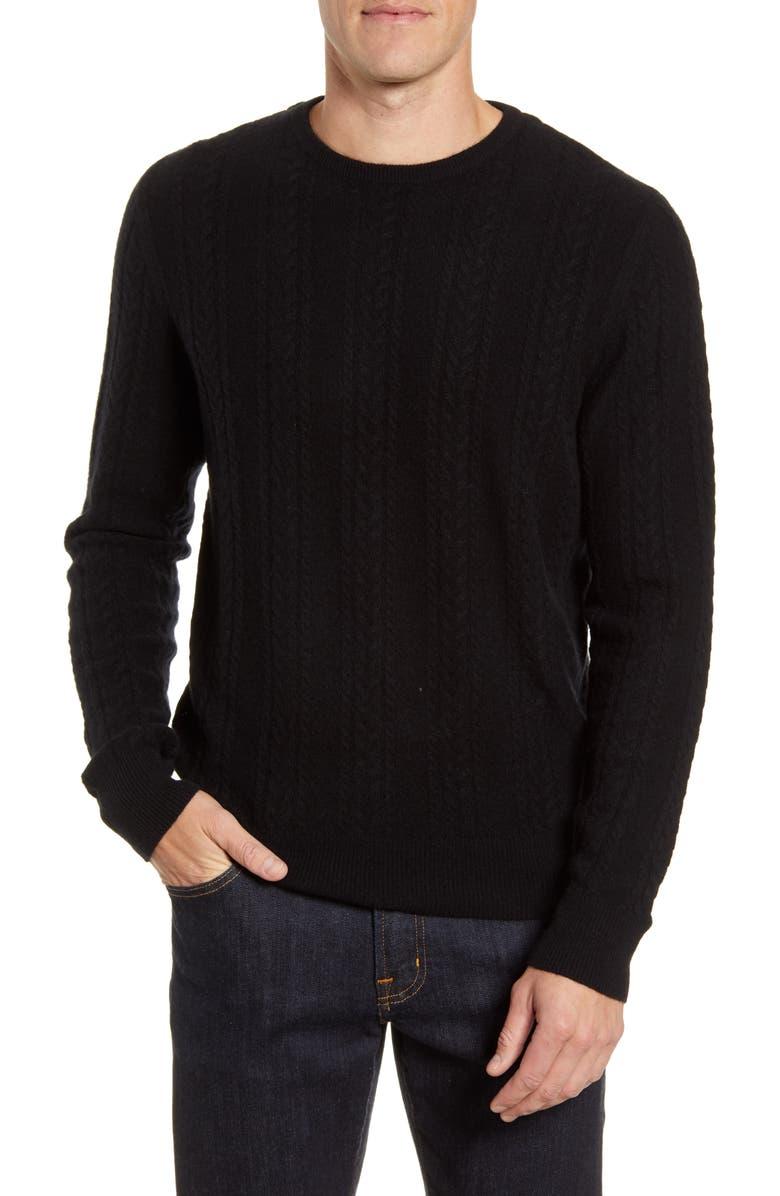 NORDSTROM MEN'S SHOP Cable Knit Cashmere Sweater, Main, color, 001