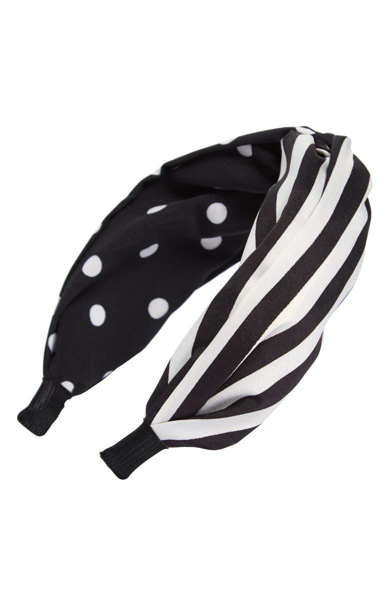 TASHA Stripe & Polka Dot Knot Headband, Main, color, BLACK/ WHITE