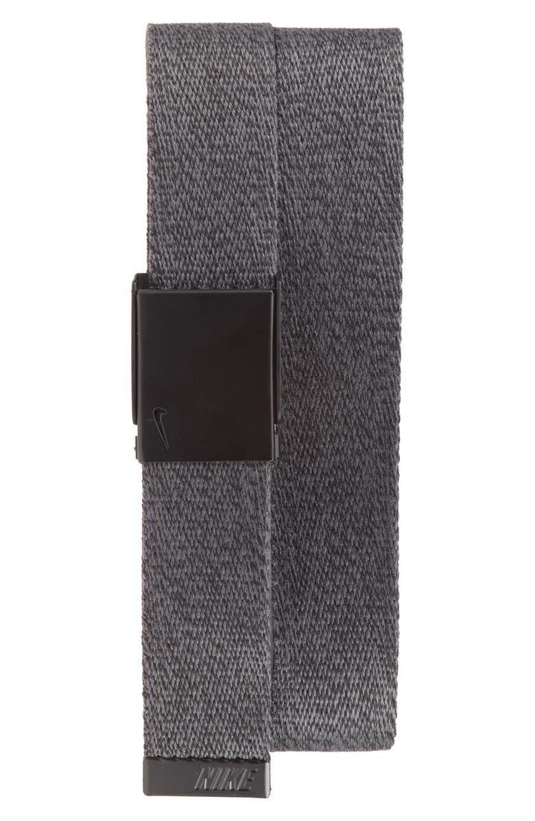 NIKE Heathered Web Belt, Main, color, DARK GREY BLACK