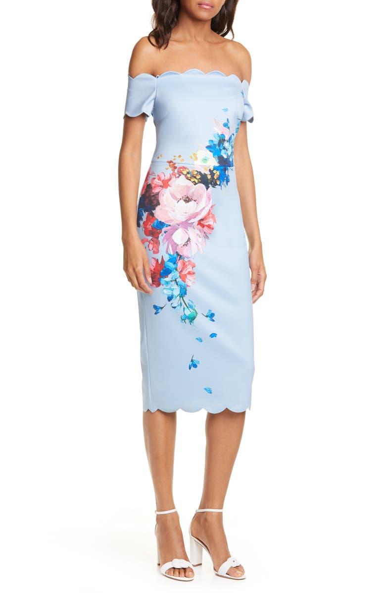 TED BAKER LONDON Raspberry Ripple Floral Scallop Off the Shoulder Dress, Main, color, LIGHT BLUE