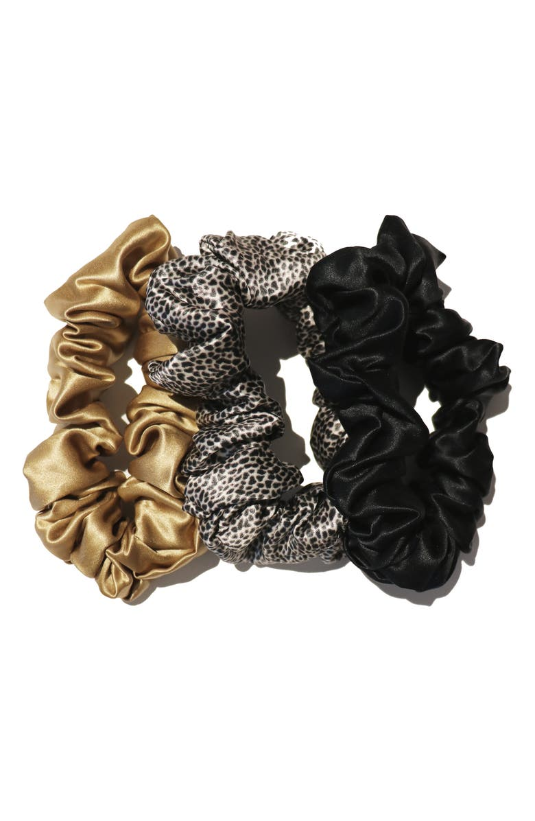 SLIP Pure Silk 3-Pack Hair Ties, Main, color, GOLD/LEOPARD/BLACK