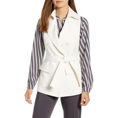 Anne Klein Tie Front Double Breasted Vest, White