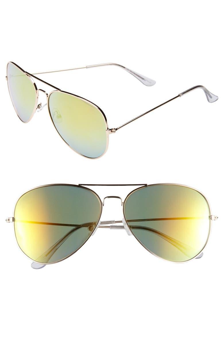KW 'Flight M' Aviator Sunglasses, Main, color, 300