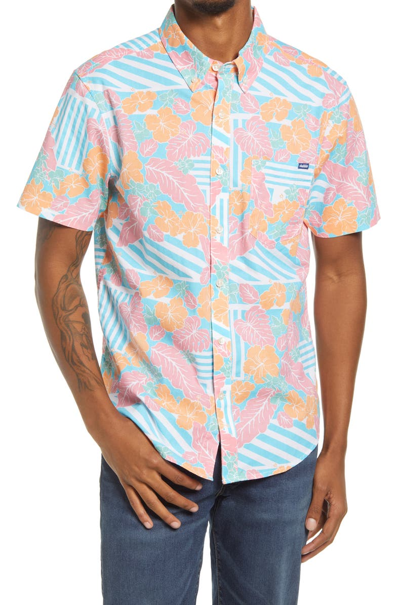 CHUBBIES The Inspiration Floral Short Sleeve Stretch Button-Down Shirt, Main, color, LIGHT/ PASTEL BLUE