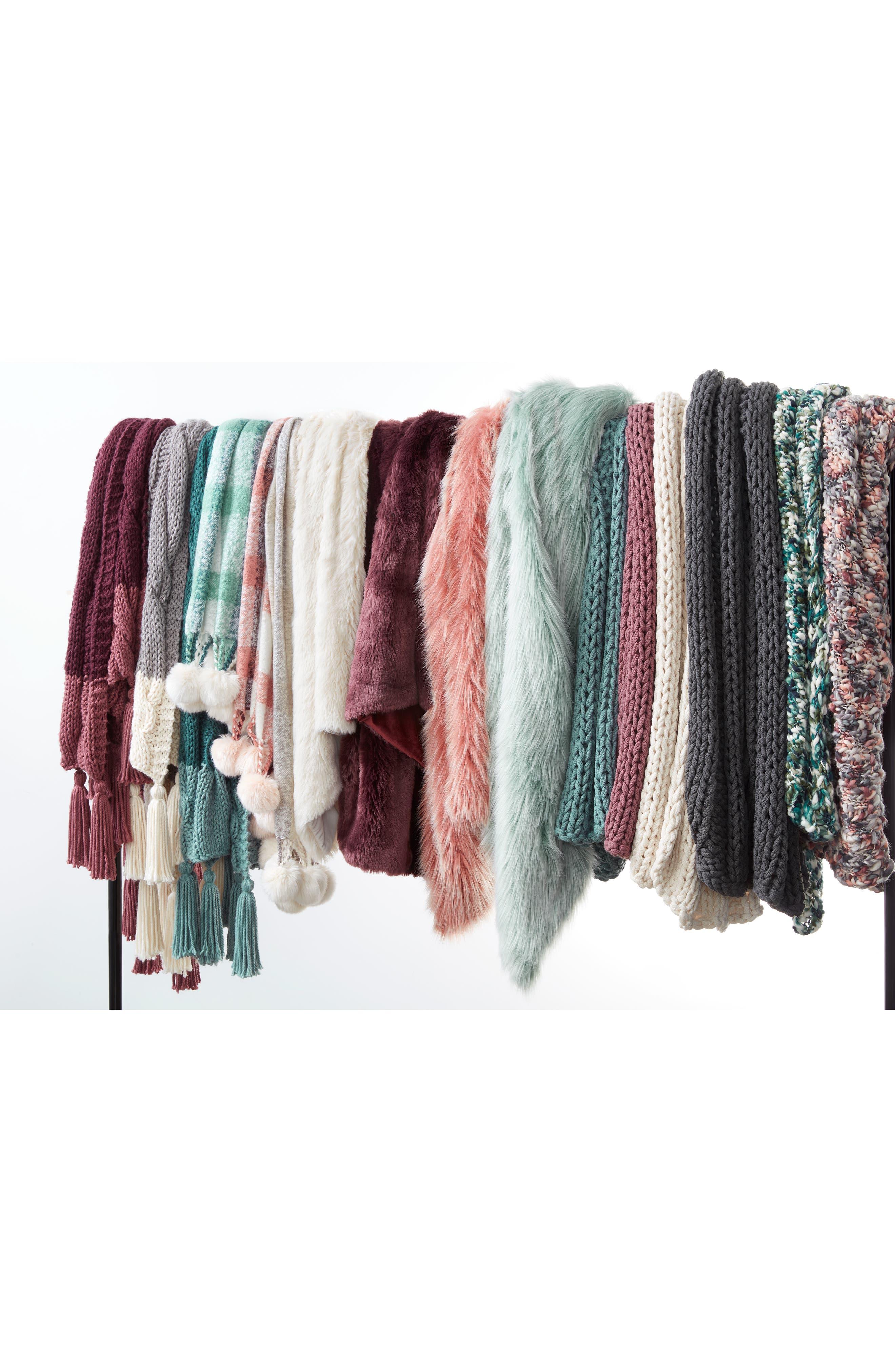 ,                             Knit Throw,                             Alternate thumbnail 5, color,                             GREEN SHORE MULTI