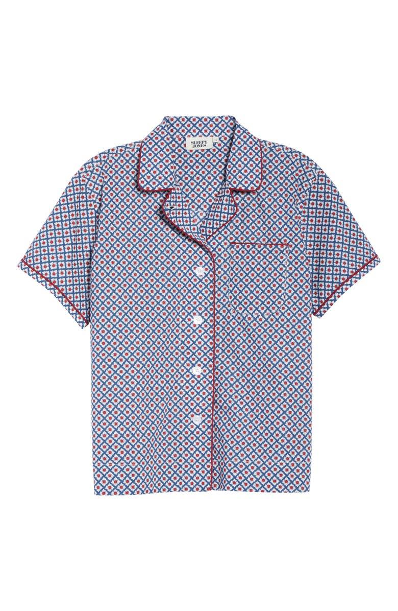 SLEEPY JONES Corita Women's Pajama Shirt, Main, color, NAVY