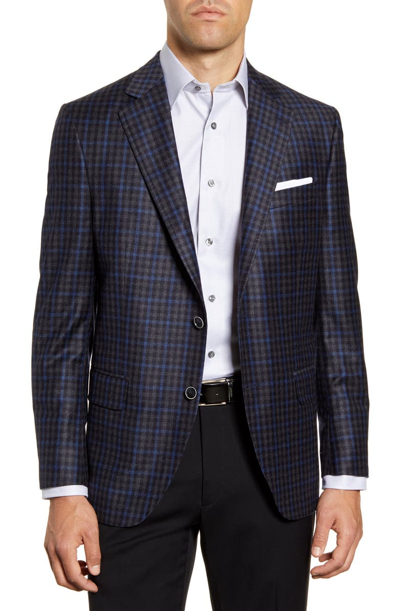PETER MILLAR Hyperlight Classic Fit Check Wool Sport Coat, Main, color, GREY
