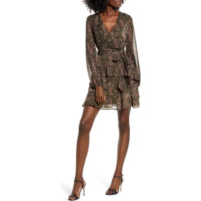 Love, Fire Tiered Wrap Dress, Brown