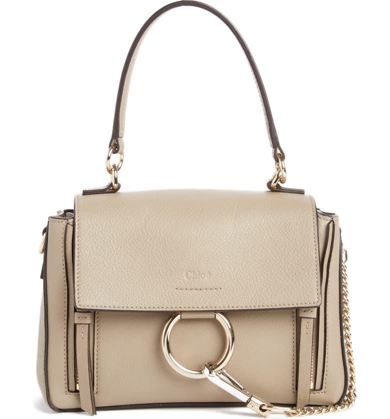 CHLOÉ Mini Faye Day Leather Crossbody Bag, Main, color, MOTTY GREY