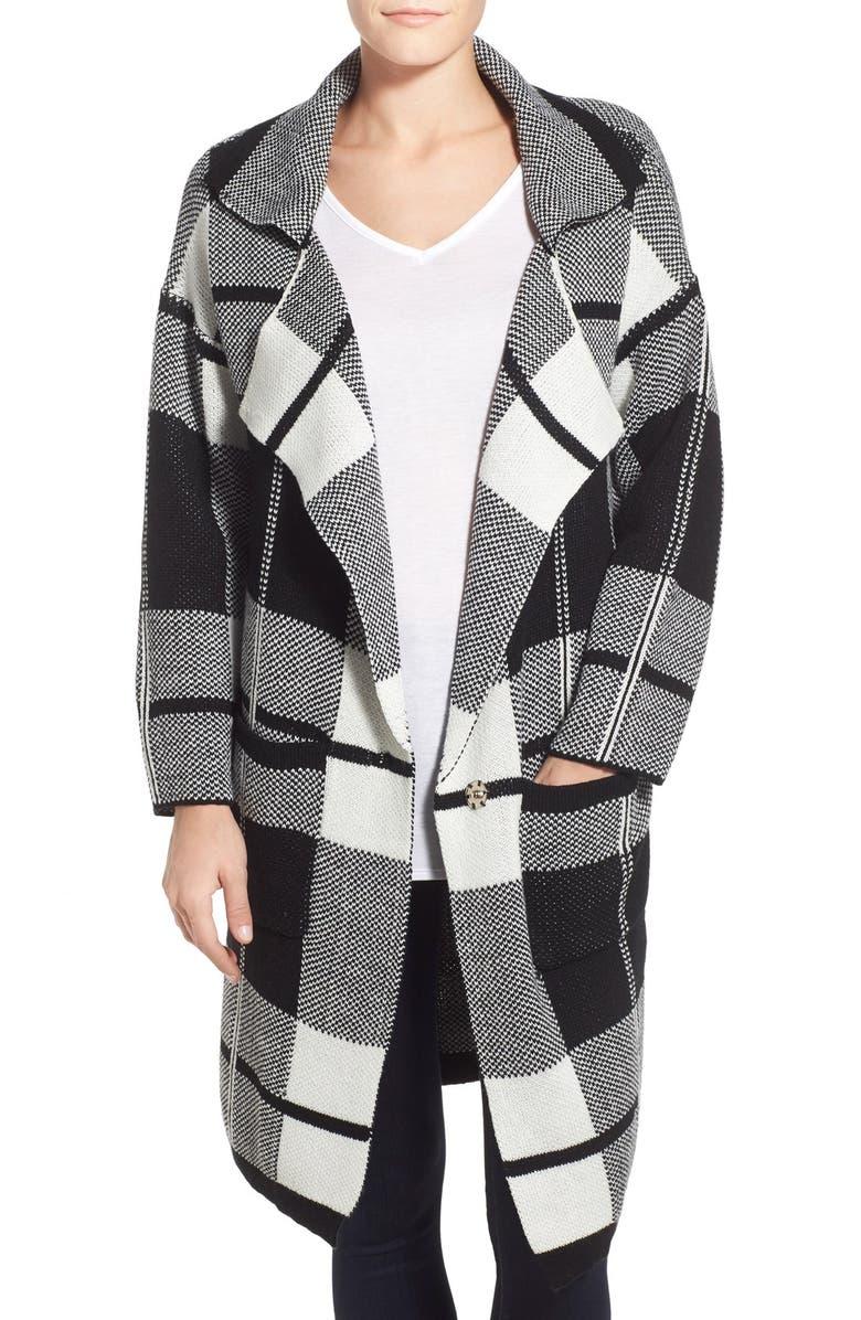 BOBEAU Check Notch Collar Sweater Jacket, Main, color, 900