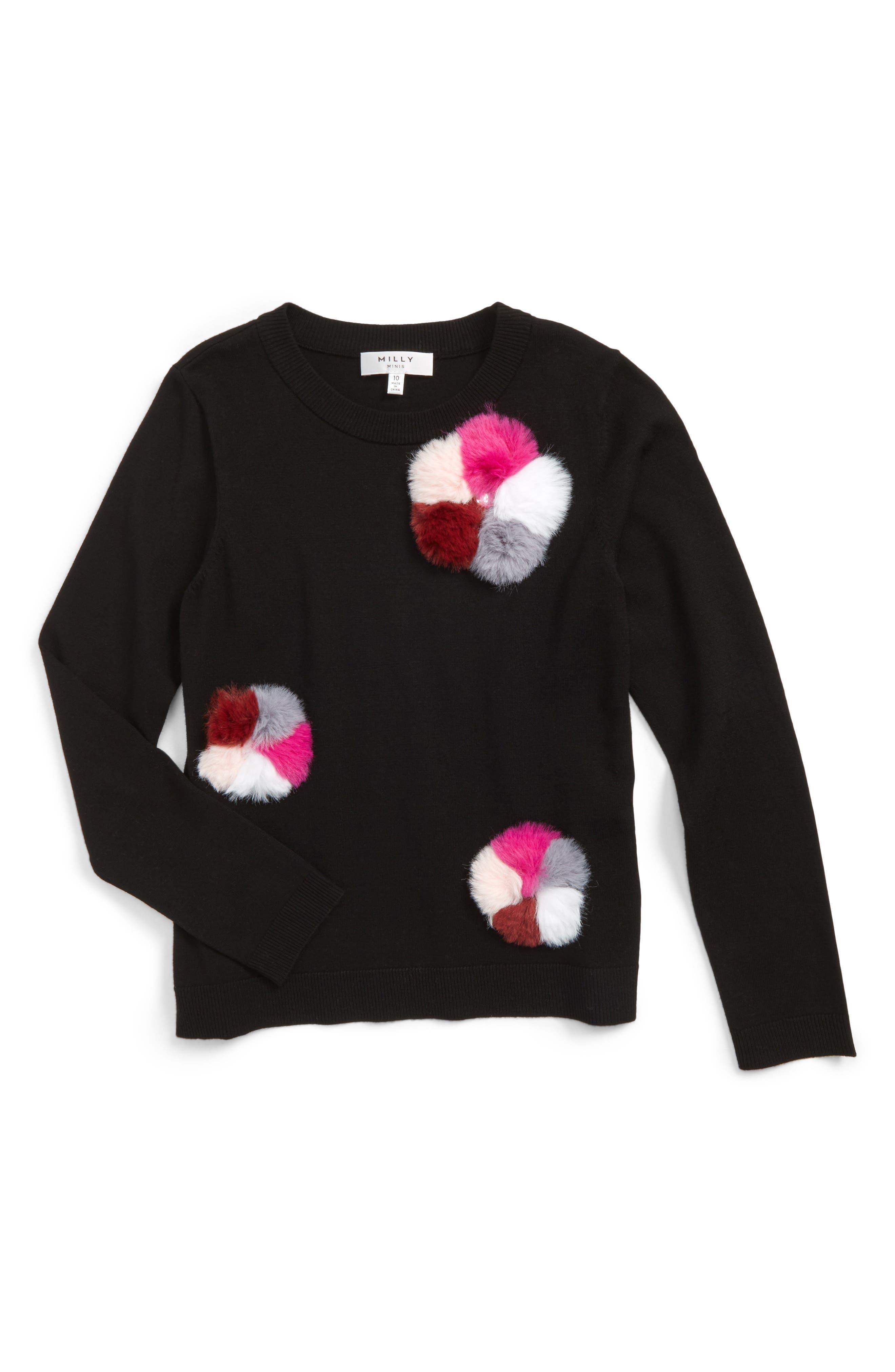 Girls Milly Minis Pompom Embellished Pullover Size 14  Black