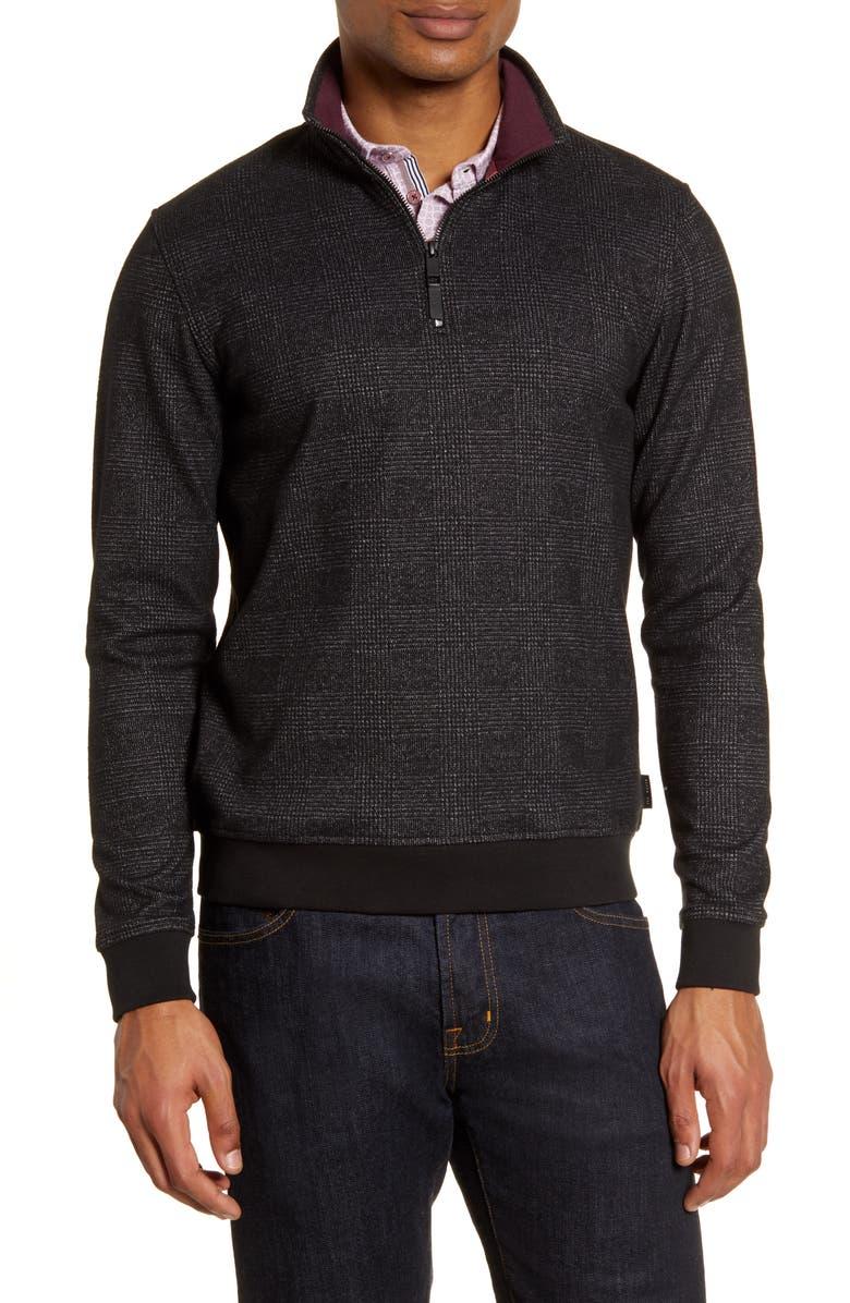 TED BAKER LONDON Token Slim Fit Quarter Zip Pullover, Main, color, 001