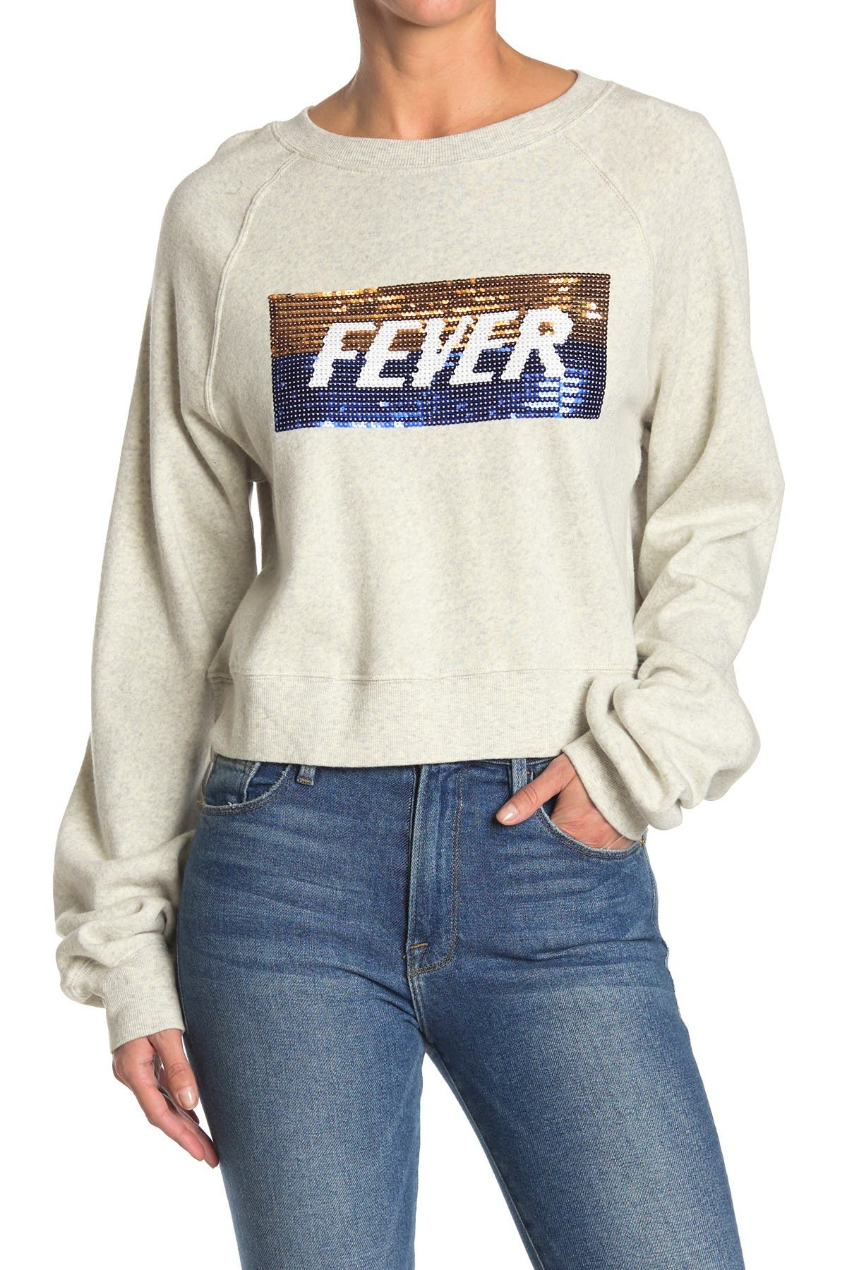 Image of PAM AND GELA Hollywood Cropped Sequin Crewneck