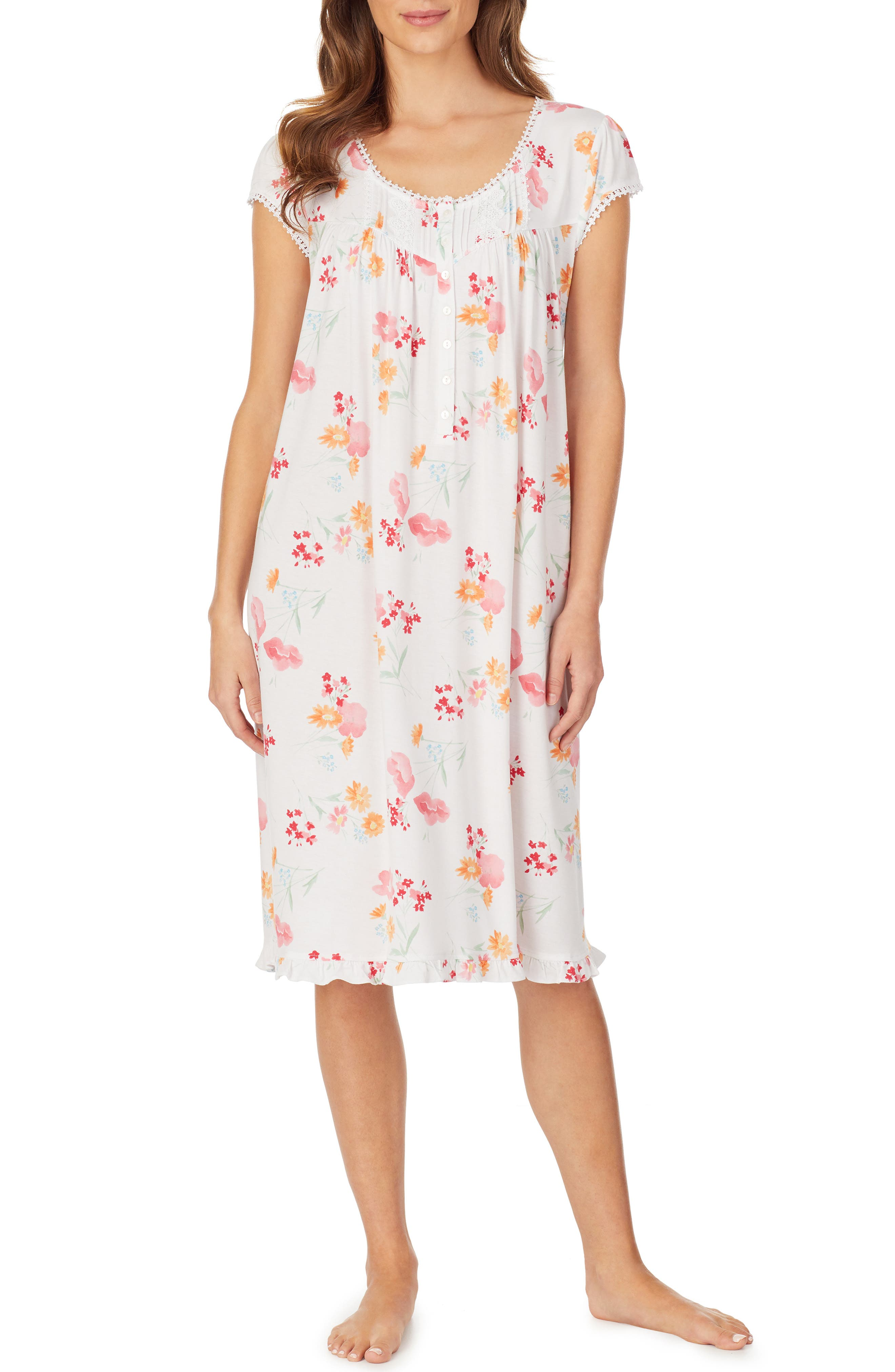 Plus Size Eileen West Waltz Jersey Knit Nightgown, White