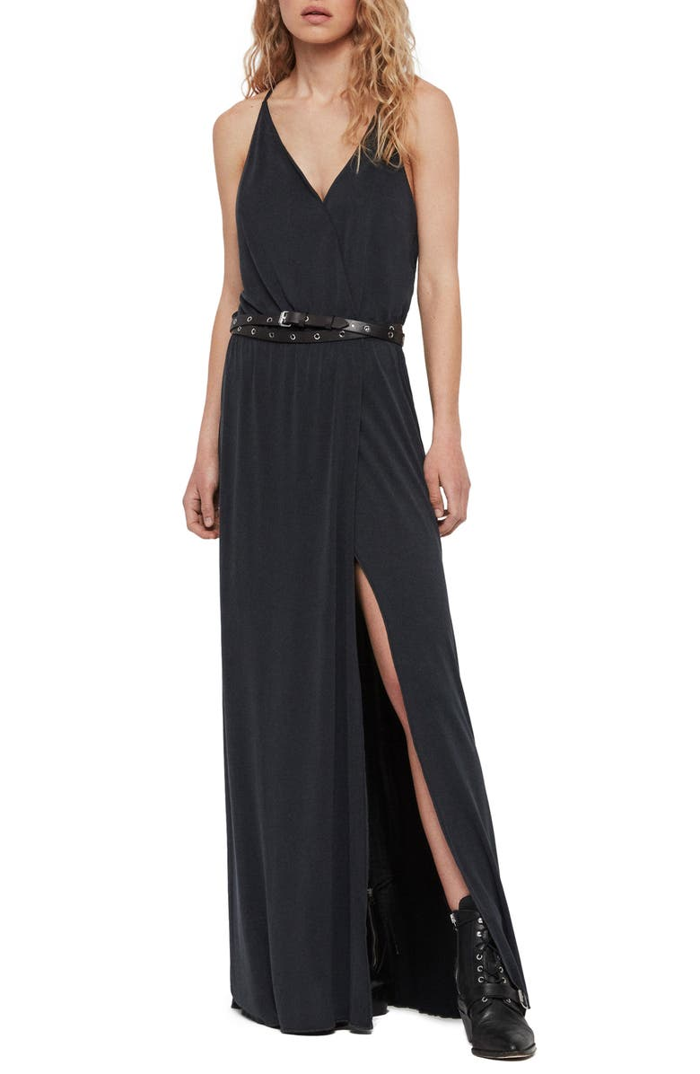 ALLSAINTS Retis Maxi Dress, Main, color, 001