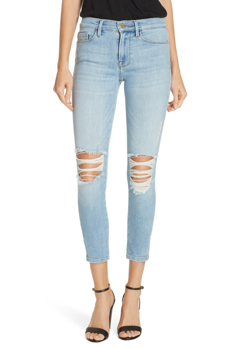 FRAME Le Skinny Ripped Ankle Jeans, Main, color, DOVE PARK