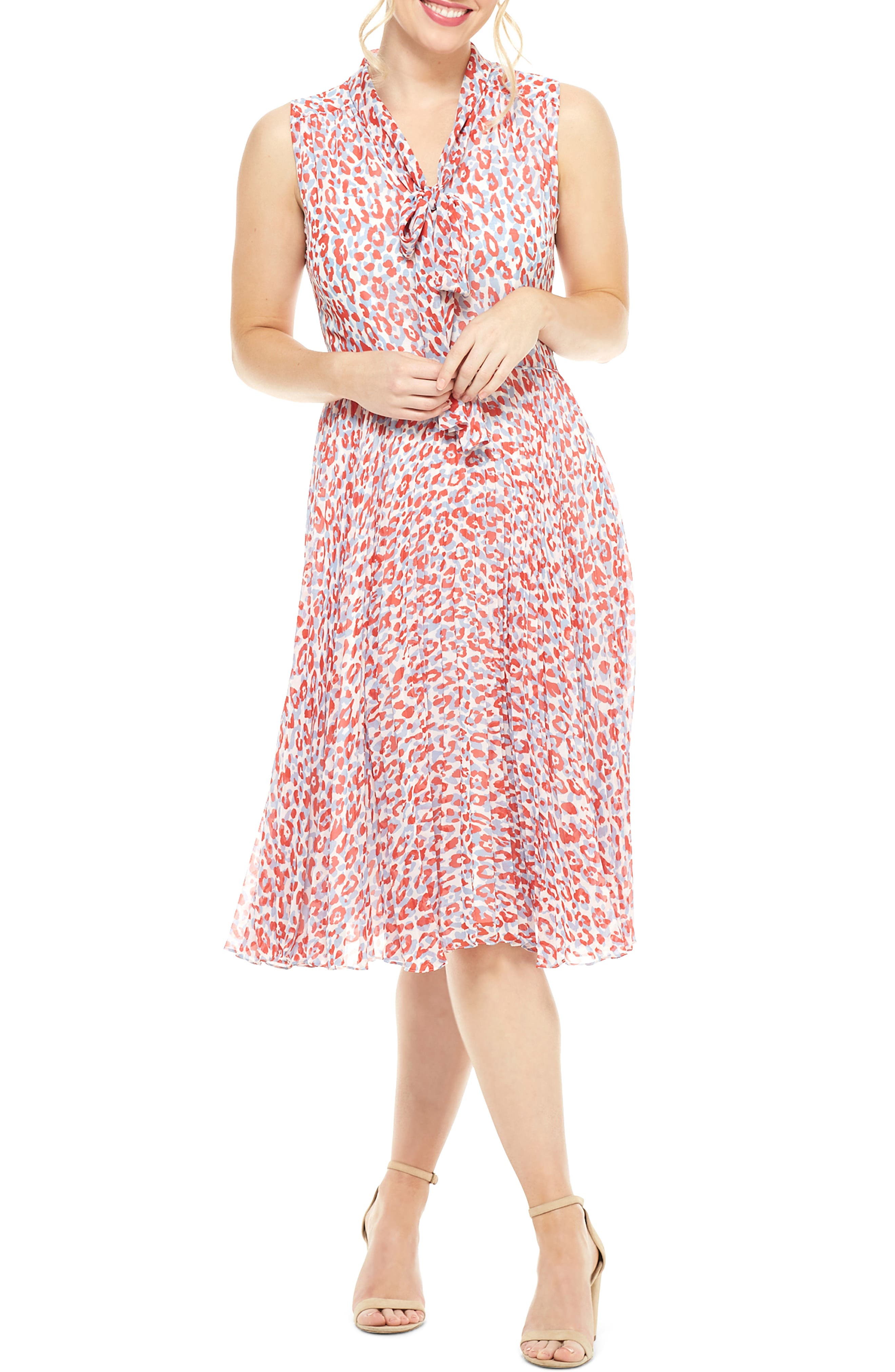 Maggy London Delinda Print Tie Neck Pleated Chiffon Dress, Red