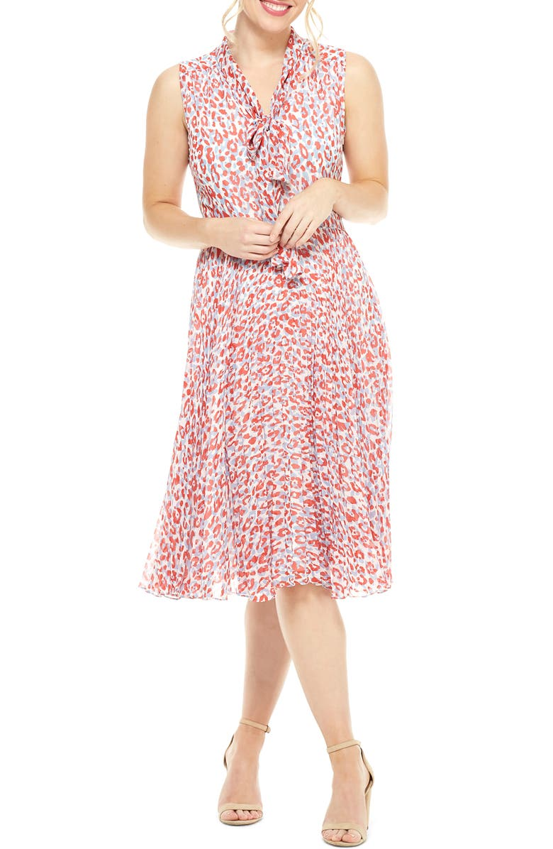 MAGGY LONDON Delinda Print Tie Neck Pleated Chiffon Dress, Main, color, SOFT WHITE/ RED