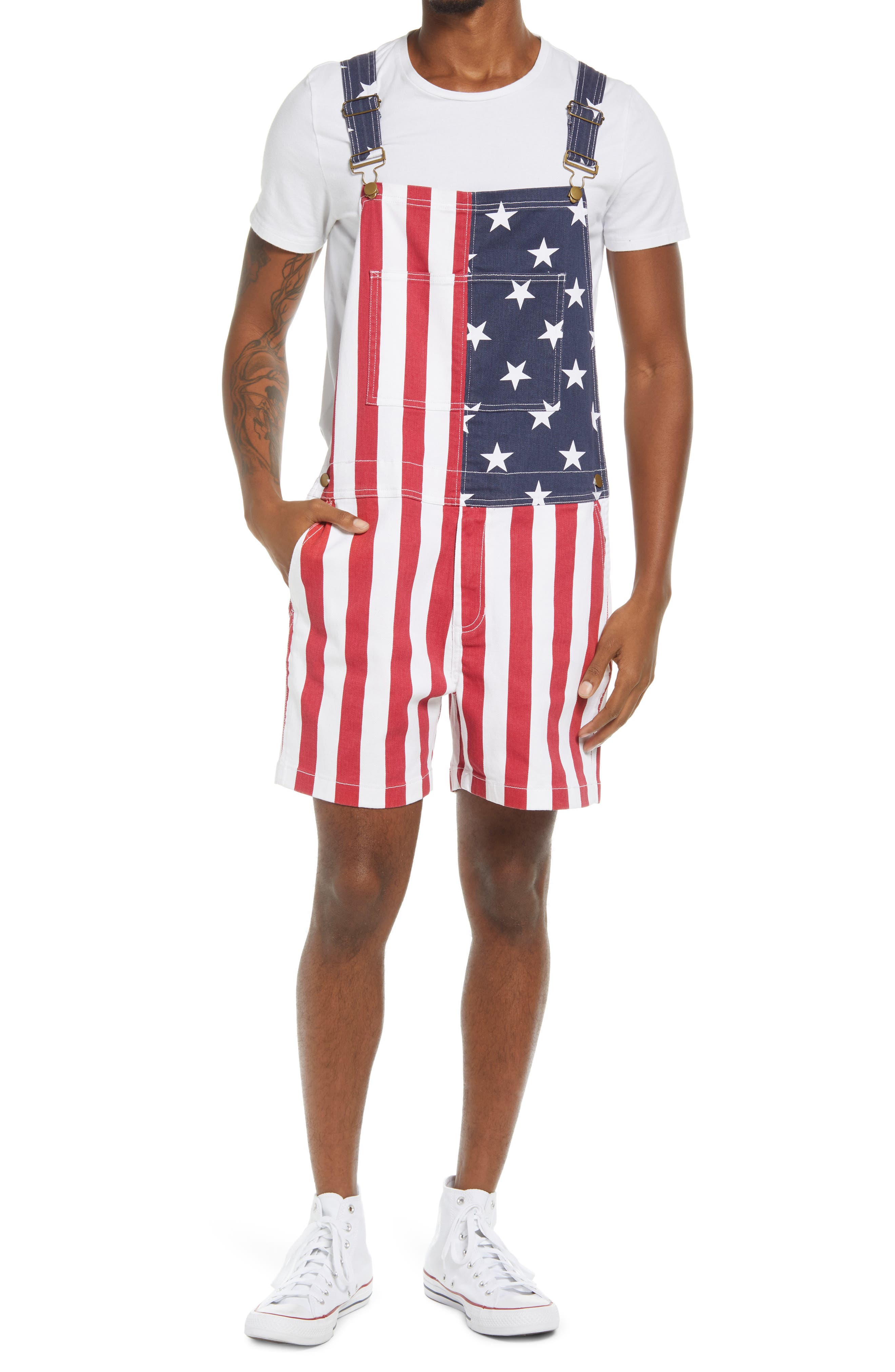 Men's The Chubberalls 2.0 American Flag Denim Overalls