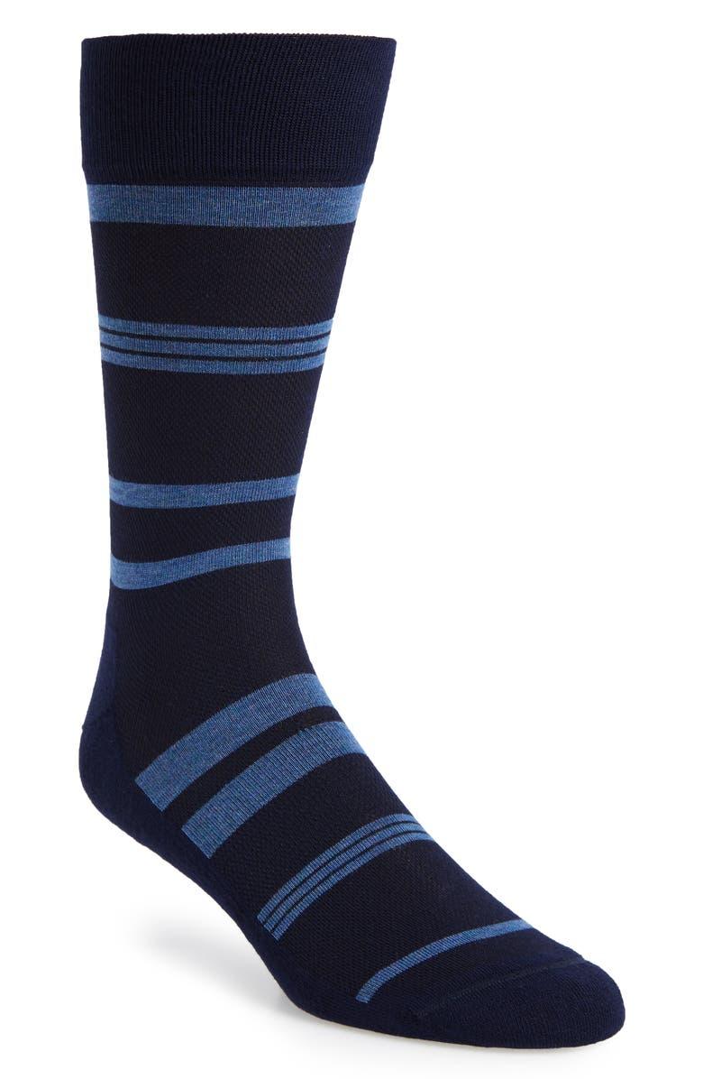 NORDSTROM MEN'S SHOP Stripe Socks, Main, color, NAVY/ BLUE