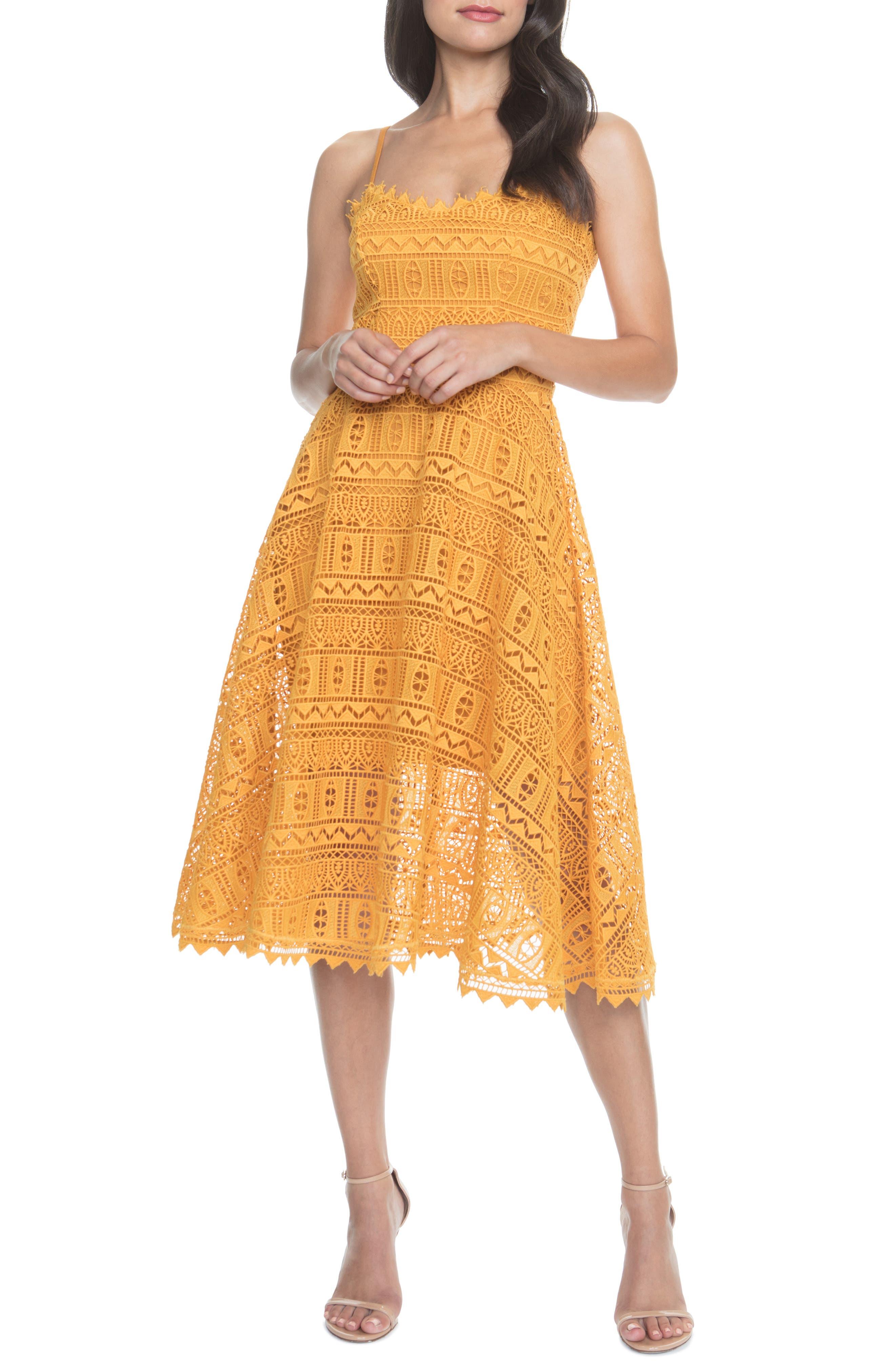 Dress The Population Brenna Lace Mix Dress, Yellow