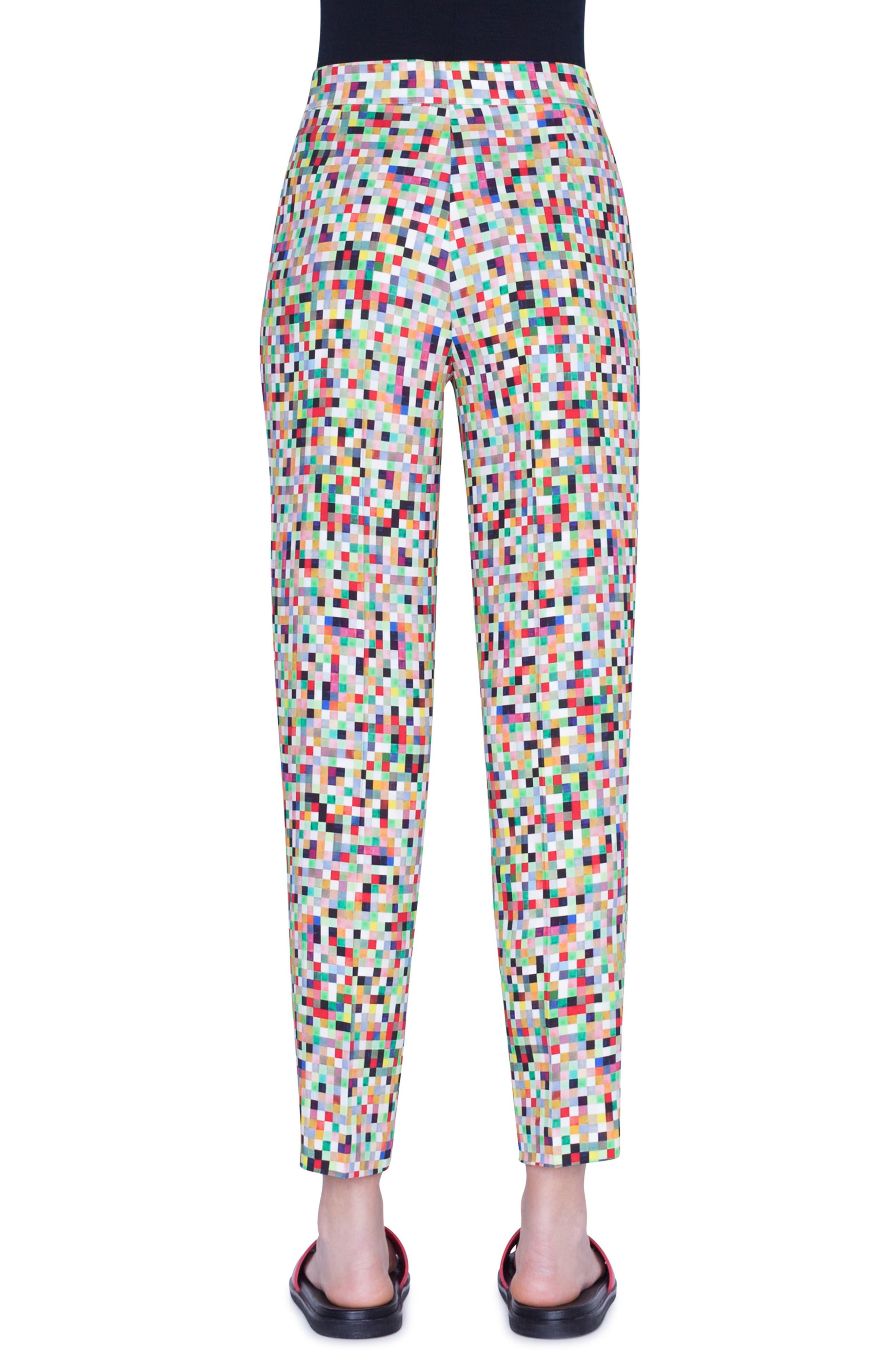 Akris Punto Pants Maiko Pixel Print Crepe Ankle Pants